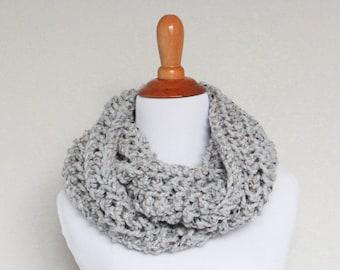 Hand Knit Cowl, Chunky Knit Cowl, Chunky Knit Scarf, Long Loop Scarf, Grey Marble - Argon Cowl