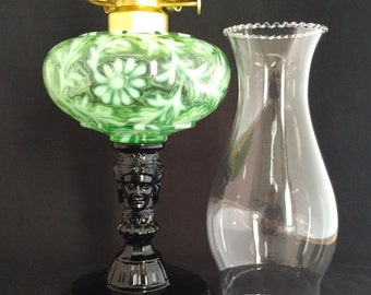 Three Face Pattern Glass Oil Lamp Made in USA in Green Opalescent Daisy & Fern Fount over Black Raspberry Base. Great Wedding Present!