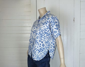 80s New Wave Blouse in Blue & White Abstract- 1980s