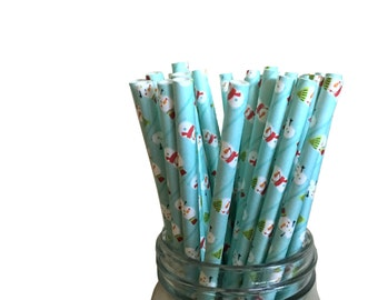 Snowman Straws, Christmas Straws, Paper Straws, Holiday Paper Straws, Holiday Party, Christmas Party, Christmas Decor, Holiday Decor, 10