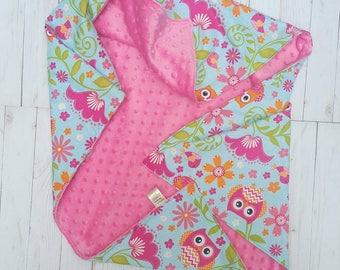 Pink Owl Minky Baby Blanket- baby blanket for girl, baby shower gift, minky baby blanket, baby bedding, baby nursery, stroller blanket