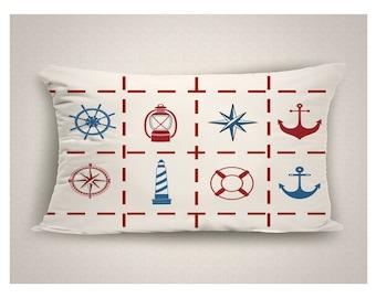 Nautical Outdoor Lumbar Pillow, Beach Pillow, Nautical Decor Red White Blue, Lake House Decor, Beach House Pillow, Outdoor Decor, 14 x 20