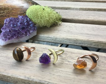 Moonchild Rings | Crescent moon ring with raw Amethyst | Raw Citrine | Tigers Eye | Brass and Rose Gold Adjustable rings