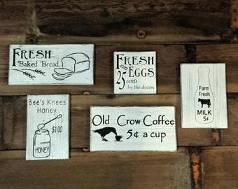 Farm Fresh Signs, Farmhouse Decor, Fresh Eggs Sign, Coffee Sign, Milk Sign, Farm Fresh, Farmers Market, Country Kitchen, Farmhouse Kitchen