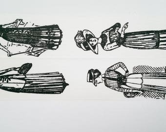 Washi tape black white old lady