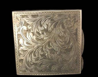 Antique Victorian European Engraved 800 Silver Compact