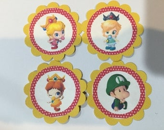 12 Baby Mario and Items cupcake toppers