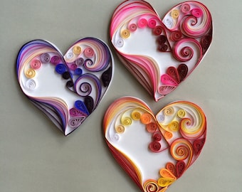 Quilled Valentines Heart Shaped Cards. Set of 3