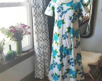 60s 60's 1960s Hippie Bohemian Tropical Flower Hawaiian Vintage Dress Size Small S Aqua Blue Aloha Summer 70's 70s