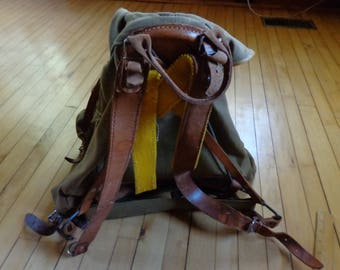 vintage Backpack canvas and leather with steel frame