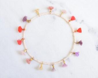 makeup palette multi tiny tassel, delicate beaded friendship bracelet