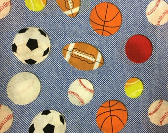 Sports balls - basketball fabric  - baseball - football - fabric  - material - sewing -supply notion - bty - 1yard