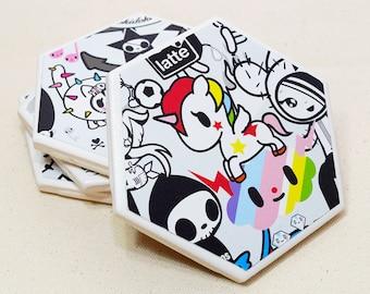 White Tokidoki Coaster Set | Set of 4 | Upcycle Calendar Ceramic Tile Coaster | Housewarming Gift | Kawaii Anime Drink Coaster Set | Cute