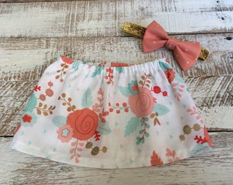 Coral, Mint & Gold Floral Baby Skirt - Girls Skirt With Bow Headband - Baby, Toddler, Kids Skirt