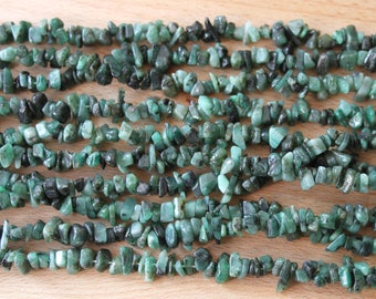 Natural Emerald Chips 5-7mm Double Strand (36 inches)