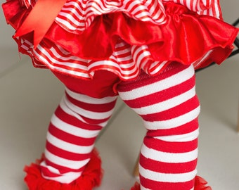 Candycane Tutu Bloomer - Satin Ruffle Holiday Bloomer