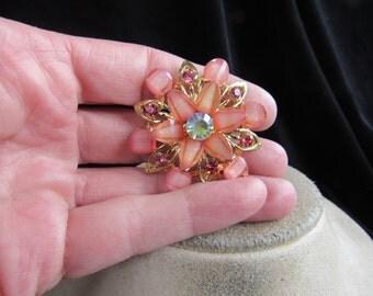 Vintage Goldtone Pink Stone/Rhinestone Irridesent Rhinestone Floral Pin