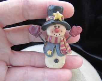 Vintage Christmas Snowman Pin