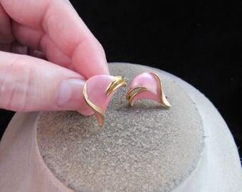 Vintage Pair Of Goldtone Pink Enameled Clip Earrings