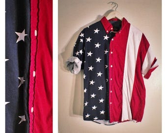 90s Redhead American flag short sleeved button-down / 4th of July shirt