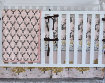 Autumn Fawn in Shell Crib Bedding, quilt, bumpers, fitted sheet, crib skirt, deer, hunting, rustic nursery, woodland, baby girl