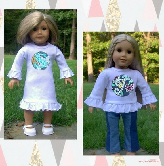 CYBER MONDAY SALE!  American Girl, 18 inch Doll Applique Tee or Dress, Custom, Personalized, Initial