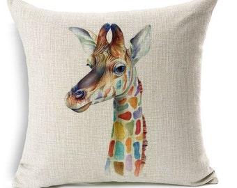 Giraffe Pillow, Animal Pillow, Pillow Case, Giraffe