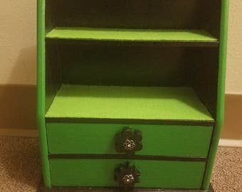 Neon Green and Black Crow shelf