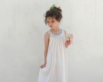 Girls White Dress, White and Silver Summer Dress, Toddlers Girls White Dress, White Boho Dress, New Collection- By PetitWild