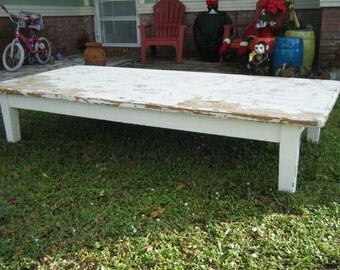 Vintage Extra Large Shabby Chic Cottage Totally Anthropolagie White Coffee Table