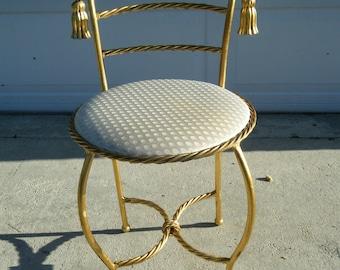 Vintage Hollywood Regency Gold Gilt Rope Tassel Vanity Stool Edward P Paul