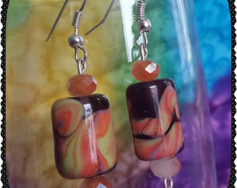 Peach and Purple Glass Earrings