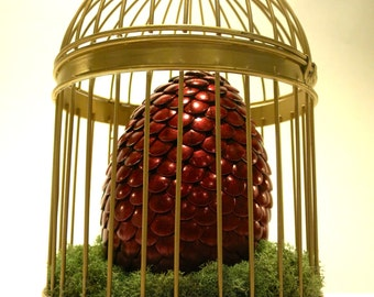 Large Red Dragon Egg in Gold Cage