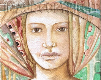 "Goddess series ""Brown-eyed Goddess""  Art Print of original watercolor"