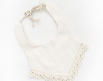 "Boho Lace Baby Bib ""Austen Ivory No.2"""