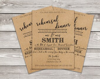 Printable Rehearsal Dinner Invitation (5x7 or 4x6)- DIGITAL FILE ONLY