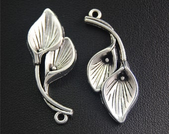 10pcs Antique Silver Calla Lily Charms Pendant A2060