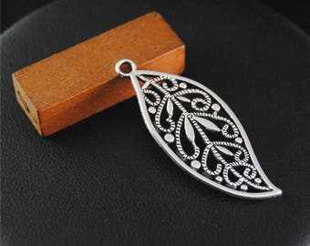 10pcs Antique Silver Filigree Leaf Charms Pendant A2121
