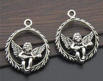 10pcs Antique Silver Round Wings Angel Charms Pendant A2270