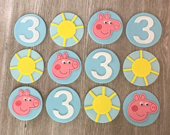 Peppa The Pig Cupcake Toppers - Edible Fondant - Set of 12