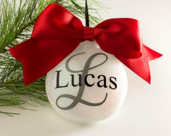 Personalized Christmas Ornament - 2017 Ornament - Monogram Ornament - Year Ornament - Name Ornament - Personalized Glitter Ornament