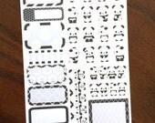 Panda Mini Kit Planner Stickers - Weekly Kit Planner Stickers - Panda Sampler - Black and White Stickers - Panda Stickers - Animal Stickers