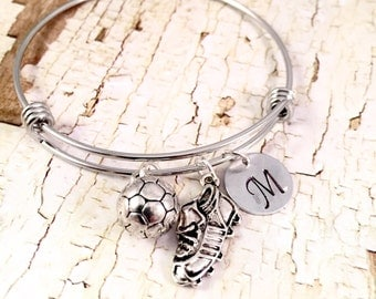 Soccer bracelet, Charm Bracelet, Soccer cleat charm, 3D Soccer ball Charm, initial bracelet, adjustable bangle, stainless steel bracelet