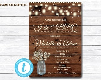 I Do BBQ Couples Shower Invitation, BBQ Couples shower, Bbq Invitation, I Do BBq Invitation, I Do Bbq, Bbq invitations, I Do Bbq Couples DIY