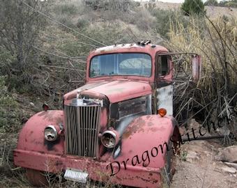 Old Vintage Abandoned Pink Truck