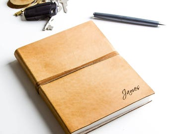Personalized Handmade Leather Journal - available in two sizes
