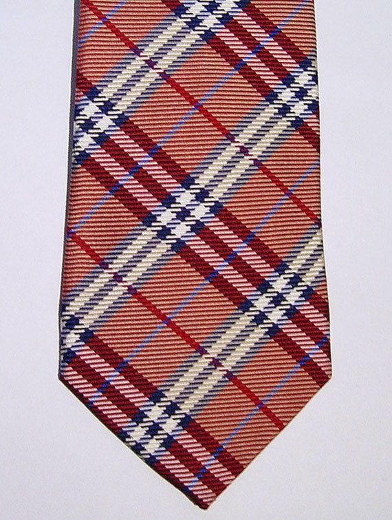 Authentic BURBERRY London Red Nova Check Woven Silk Neck-Tie Hand Made in England