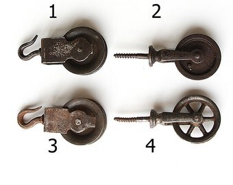 Antique pulleys Collectible old vintage pulley wheel collection Screw mount and Hook Small cast iron pulleys Industrial decor Steampunk
