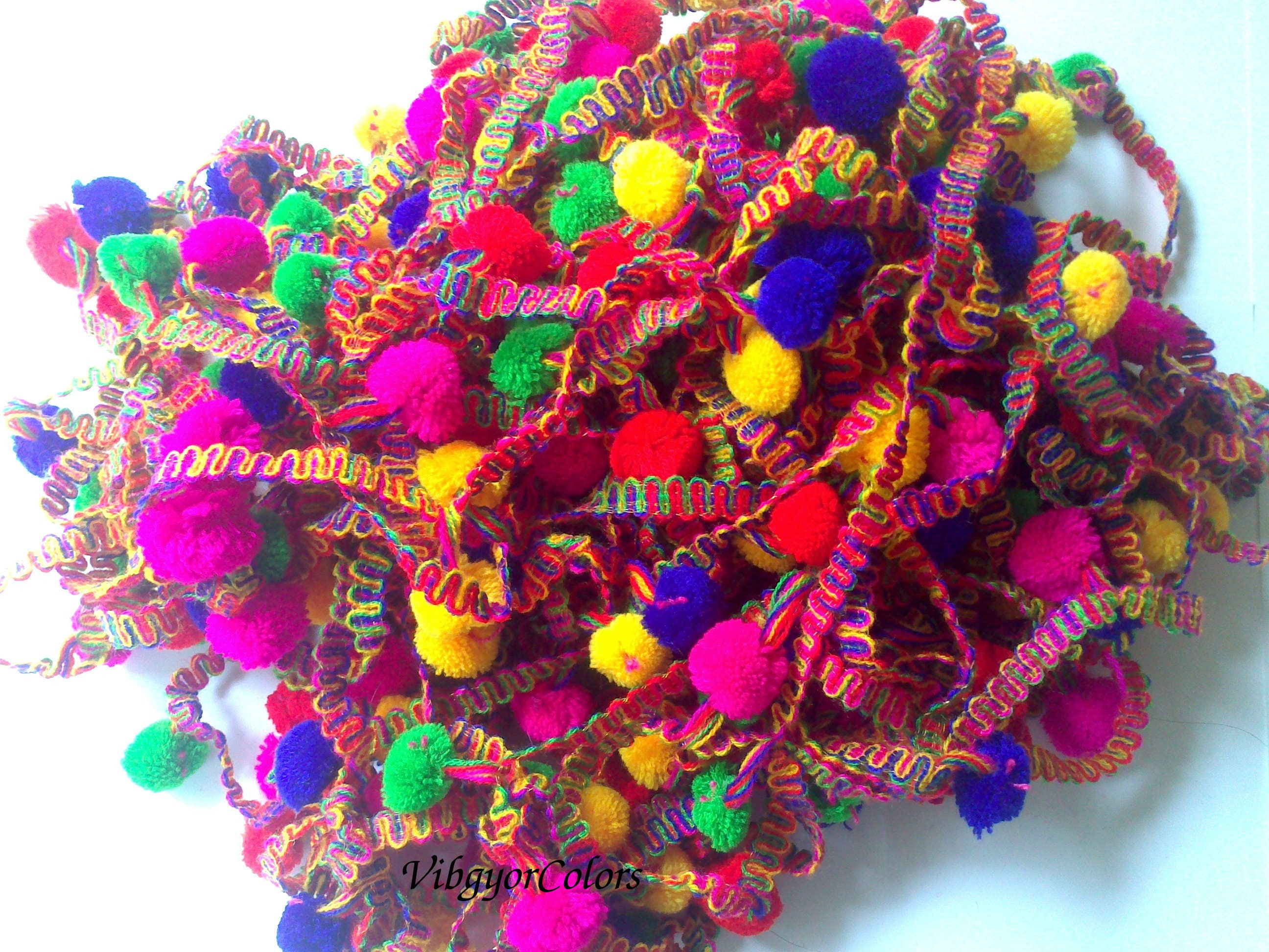 multicolor pom pom trim 8 yards tassels trim home decor fringe