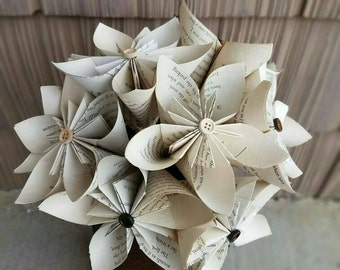Book Paper Flowers, Paper Flower, Paper Book Flowers, Tea Stained Paper Flowers, Tea Stained Book Flowers, Book Lover Present